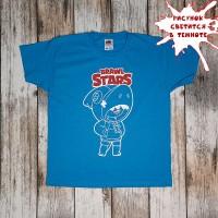 """Светящаяся футболка  """"Бравл Старс"""" - голубой"""
