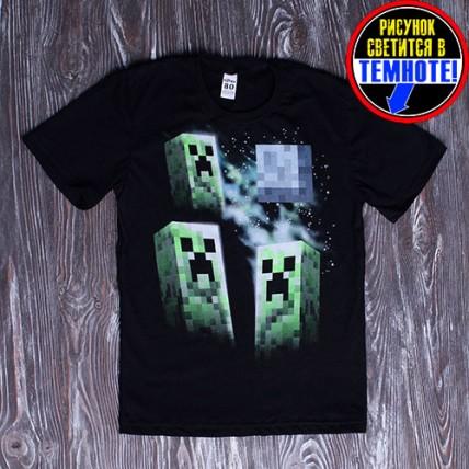 """Светящаяся футболка для детей и подростков """"Майнкрафт"""""""