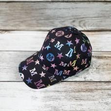 Женская бейсболка - черная с цветным принтом