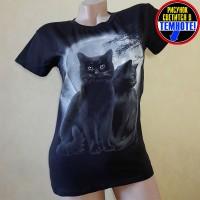 """Светящаяся футболка """"Два кота"""""""