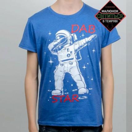 """Светящаяся футболка для подростков """"Космонавт"""" электрик"""