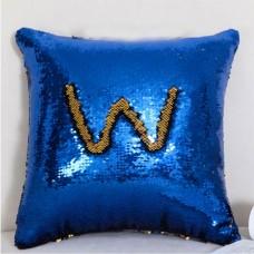 Подушка з паєтками - синій