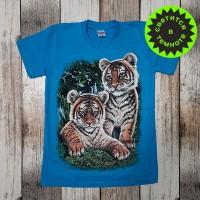 """Светящаяся футболка  """"Тигрята"""" - голубой"""