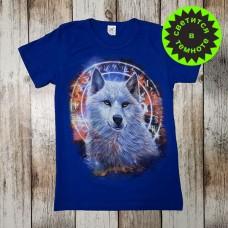 """Светящаяся футболка  """"Волк амулет"""" - синий"""