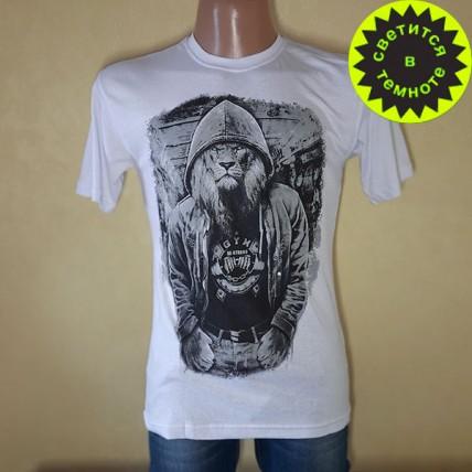 """Чоловіча футболка """"Серйозний лев"""" білий"""