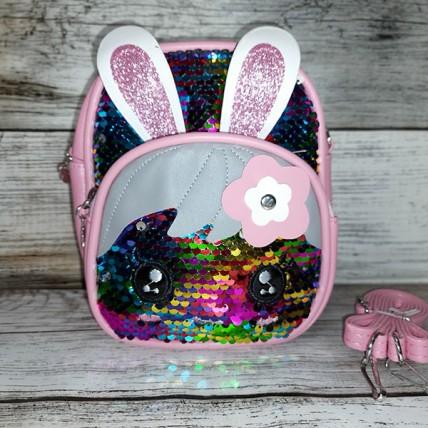 """Рюкзак-сумка с пайетками """"Зайка"""" разноцветный"""