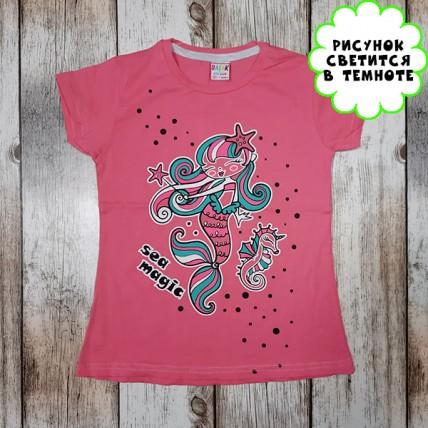 """Детская светящаяся футболка """"Русалочка"""" розовый"""