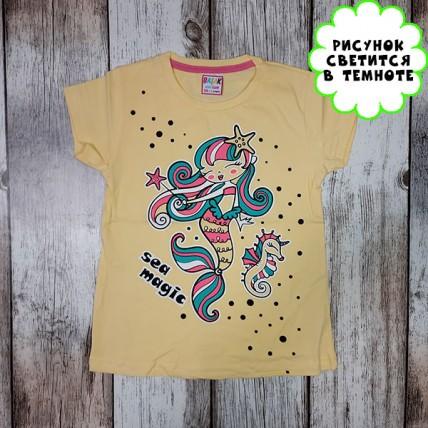 """Детская светящаяся футболка """"Русалочка"""" желтый"""