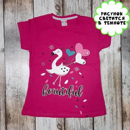 """Детская светящаяся футболка """"Птица с шариками"""" малиновый"""