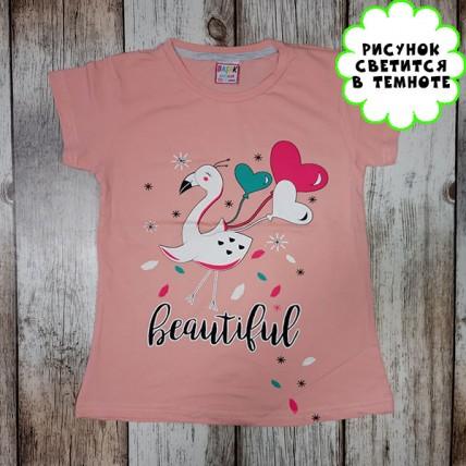 """Детская светящаяся футболка """"Птица с шариками"""" персик"""
