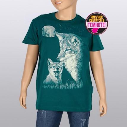 "Светящаяся футболка для подростков ""Лисички"" бирюза"