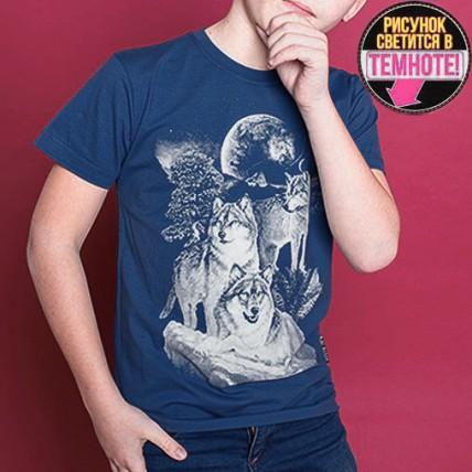 """Светящаяся футболка для подростков """"Три волка"""" джинс"""
