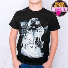 """Светящаяся футболка """"Три волка"""" черный"""