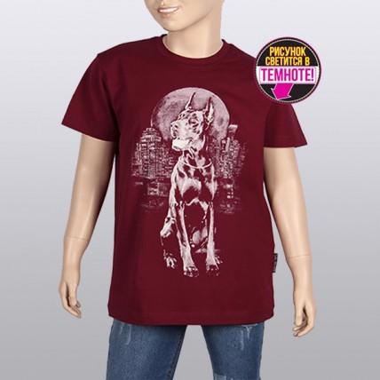 """Светящаяся футболка для подростков """"Собака город"""" бордовый"""