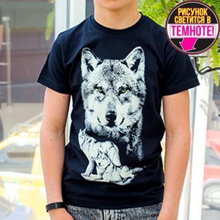 """Светящаяся футболка для подростков """"Волки"""" черный"""