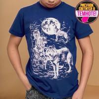 """Светящаяся футболка """"Стая волков"""" индиго"""