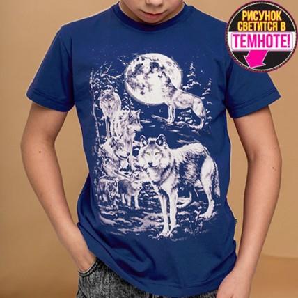 """Светящаяся футболка для подростков """"Стая волков"""" индиго"""