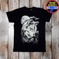 """Светящаяся футболка """"Волк и город"""" черный"""