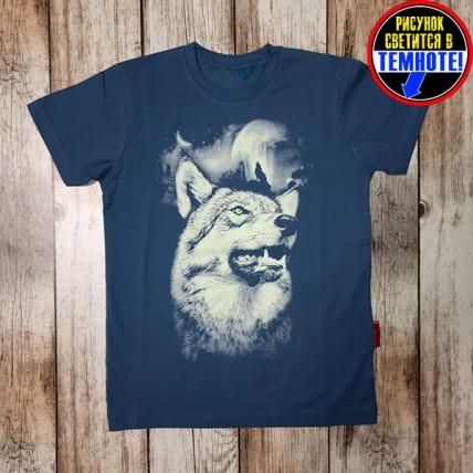 """Светящаяся футболка для подростков """"Волк и водопад"""" морской синий"""