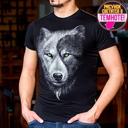 """Мужская светящаяся футболка """"Волк Инь-Ян"""""""