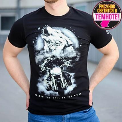 """Мужская светящаяся футболка """"Волк и байкер"""" черный"""