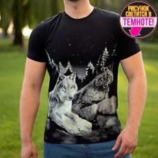 """Светящаяся футболка """"Волки на камне"""" черный"""