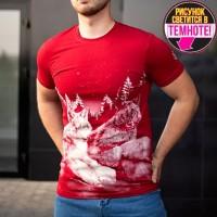 """Светящаяся футболка """"Волки на камне"""" красный"""