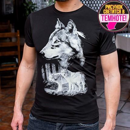 """Мужская светящаяся футболка """"Волки в лесу"""""""