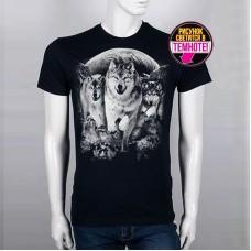 """Светящаяся футболка """"Три волка"""""""